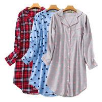 100% Cotton Women's Plaid Sleepshirt Long Sleeves Gown Soft Flannel Nightdress
