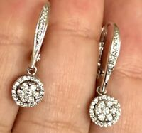 18ct White Gold Diamond Earrings 1ct Halo Cluster Dangle Drop Hoop Leverback VS