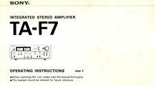 Sony TA-F7 istruzioni operative LIBRO in Inglese AMPLIFICATORE STEREO INTEGRATO