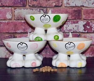 Personalised ceramic dog legged bowl hand painted dog bowl personalised dog gift