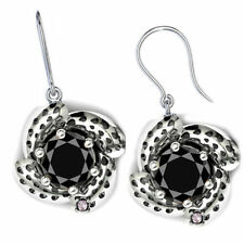 2+Ct Black Moissanite/Natural Raw White Diamond 925 Silver Engagement Earrings