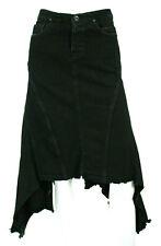 RICK OWENS Dark Shadow Black Denim Raw Edge Hem A-Line Jean Skirt S