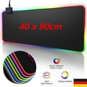 Weiche PC Laptop Bunte LED RGB Gaming Tastatur Mouse Maus Pad Matte 90*40cm DHL