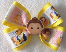 "Girls Hair Bow 4"" Wide Princess Belle Yellow Grosgrain Ribbon French Barrette"