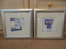 Kathryn White 2 Framed Pictures Prints Purple Blue Cream Frames Flowers Floral !
