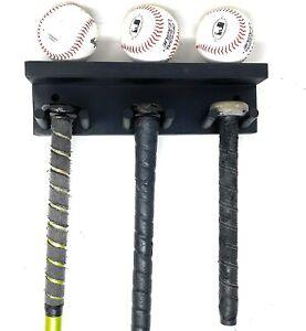 BASEBALL BAT RACK DISPLAY HOLDER 5 FULL SIZE BATS 3 BASEBALLS BLACK WALL MOUNT