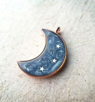 Beautiful Resin Pendant Necklace | Silver Glitter Blue| Moon Shape Silver