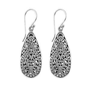 VINTAGE BALI LONG DANGLE Earrings in SOLID 925 Sterling Silver - 7.3 gms