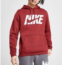 Nike Overhead Club Hoodie Fleece Lined Sweatshirt Red RRP £55  Size Medium