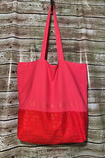 Victoria's Secret Tote Extra Large Pink Canvas Metallic Lettering