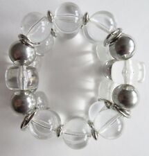 Beaded Elastic Stretch Bracelet Lucite Silver Tone Metallic Two-Strand