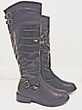 Salt & Pepper Black crocodile print Black belted boots, brand new, size 6 UK, 39