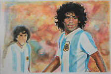 """Diego Armando MARADONA - Portrait Watercolor Painting ±17""""x12""""in by Marušić Art"""