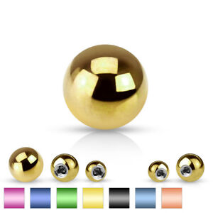 Body Jewelry Replacement Parts - 10pk PVD over Surgical Steel Threaded Balls