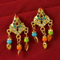 Indian Women Bridal Goldplated Earrings Traditional 18K Drop Dangle Jewelry