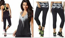 ZUMBA 2Pc.SET! Extended WaistBand Capri Leggings FLATTERING + Racerback Top TanK