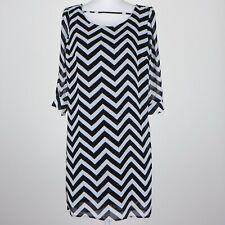 SOULMATES Women's Black/White Midi Dress Geometric Pattern Any Occasion Size X