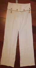 CACHE IVORY NAUTICAL WIDE LEG off white ivory very strtchy pin up pants 2 NWT