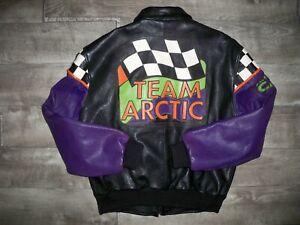 Vtg Arctic Cat Snowmobile Leather Bomber Team Racing Men's Jacket Medium Tall