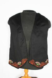 "VINTAGE ETHNIC BLACK  WOOL EMBROIDERED VEST SIZE SMALL 36"" CHEST"