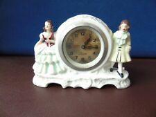 Vintage German Figural Porcelain Mantel Clock - Precista Wind Up Mantel Clock