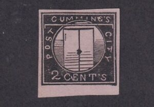 1844 U.S. Scott #55L1 Cummings City Post NY Pink Carrier Stamp - Fake
