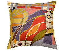 "Hundertwasser Biomorph II Cushion Cover Hand Embroidered 18"" x 18"""