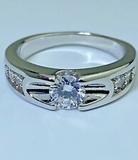 EGP White Gold over Solid Sterling W/ white sapphires solitaire gem is 5mm .30 C