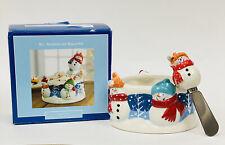 NEW St. Nicholas Square SNOW DAYS Snowman 16oz Dip Bowl & Spreader 2 Piece Set