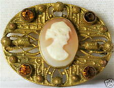Vintage 1920'S Art Deco Carved Shell Cameo Pin