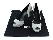 """Hugo Boss Gray """"Sylvie"""" Heels sz 38/8 $395 Made in Italy 100% Authentic"""