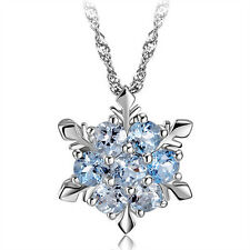 Blauer Kristall Schneeflocke Frozen Blumen Silber Halskette mit Anhänger 45cm