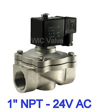 """1"""" Stainless Pneumatic Air Water Electric Solenoid Valve Normally Closed 24V AC"""