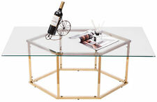 New Rectangular Glass Top Hexagon Gold Stainless Steel Metal Base Coffee Table