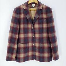 LL BEAN Womens Sport Coat Jacket Blazer WOOL CASHMERE Blend Brown Plaid Size 16R