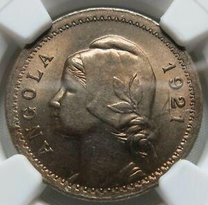 ANGOLA Portugal 20 centavos 1921 NGC MS 64 UNC