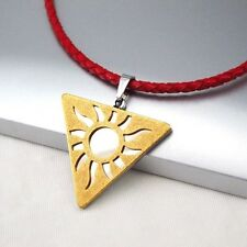 Silver Gold Triquetra Pendant Braided Red Leather Egyptian Jewellery Necklace