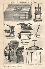 B0057 Arte della stampa - Xilografia d'epoca - 1901 Vintage engraving