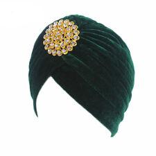 New Women Popular Winter Turban Fashion Alloy Velvet Hat Cap Head Wrap