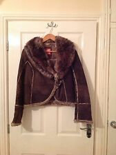 LADIES 'MISS SIXTY' BROWN SUEDE/ FUR COAT. SIZE 12. RRP £350. GOOD CONDITION.