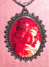 """Red Haired Girl Pendant on silver plate chain """"325  red hair lady necklace!"""