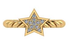 0.15 ct F VS natural round diamond star fashion cocktail ring 18k yello gold 3mm
