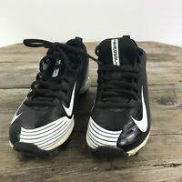 Youth Boys Size 1.5 Nike BSBL Vapor Black White Low Top Lace Up Baseball Cleats
