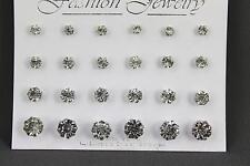 Set 12 pair round faceted stud post crystal earrings graduated size silver clear