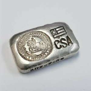 CSA Confederate States of America 50g .999 Silver Old Hand Pour Bar 2CSAxx38