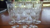 Vintage cordial wine glass set 7 pieces needlepoint etched elegant stems