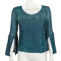 FABINDIA Celestial Blue Diamond Sky Tunic Top Tie Dye Blouse Small Boho - 282