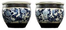 Pair Massive Chinese Antique Blue & White Ge Glazed Porcelain Tanks