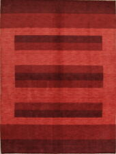 triped Contemporary Modern Gabbeh Oriental Hand-Knotted 9'x12' Red Wool Area Rug
