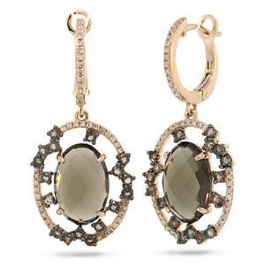 6.65 TCW 14K Rose Gold Oval Cabochon Smokey Topaz Diamond Dangle Drop Earrings